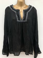 JEFF BANKS Sheer Crinkle Black Tunic Top Size 14 Beach Cover-Up Crochet Detail