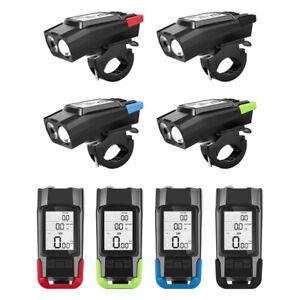Bicycle Computer Headlight Speedometer 3 IN 1 LED Display Waterproof Horn