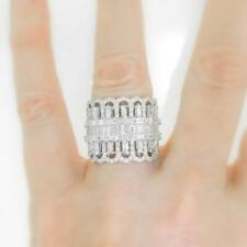 VS1 Natural 4.88ct Diamond Ring Baguette 18k White Gold 20mm Fashionista Band