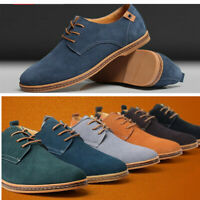 Men's Suede European Style Leather Shoes Lace Up Oxfords Casual Shoes Plus