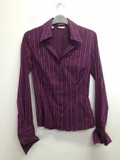 Business Collared Stretch Striped Tops & Shirts for Women
