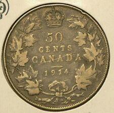 1914 Canada Silver 50 Cents  Silver 92.5% #9983