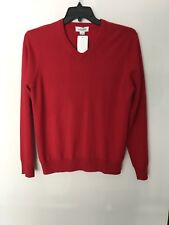 NWT Williams Red 100% Cashmere Long Sleeve V- Neck Sweater Size M, XXL AVAILABLE