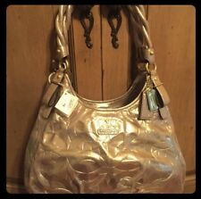 Authentic Coach Madison Embossed Gold Shimmer Maggie Handbag! NWT!