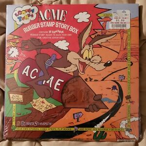 VTG 1994 Looney Tunes Acme Rubber Stamp Story Box~Rubber Stampede~30 Stamps~New