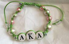 "Divine Nine Inspired aka ""First Lady"" Shamballa Styled Bracelet-Pink/Green"