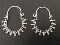 925 Sterling Silver Hoop Earrings Tribal Ethnic Indian Filigree Spike Pattern