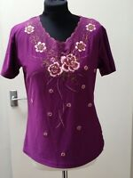 Lovely Nell Fashion Purple Sparkle Short Sleeve Top Size 14 New With Tags