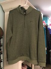 Men's Under Armour Loose Fit Sweater Sweatshirt 1/4 Zip Green Pullover Golf L