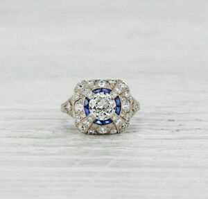 1.68Ct White Round Diamond Antique Engagement Wedding Ring 925 Sterling Silver