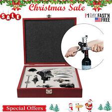 10 Piece Wine Bottle Opener Corkscrew Stopper Foil Cutter W/ Mahogany Box Gift