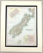 1899 Antique Map of New Zealand South Island Christchurch 19th Century Original