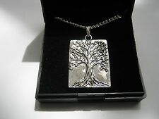 New Silver Plated Necklace with Tree of Life Pendants & gift box