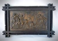 1964 Delaconte Art Inc. NYC Bronzed Ceramic Classical Scene Wall Hanging
