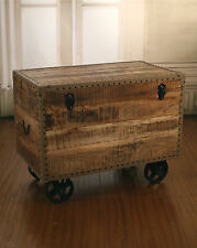Storage Chest on Metal Wheels French Industrial Home Decor BRAND NEW