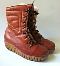 Women boots winter brown leather Sherpa lined lace up heel casual size 7.5 8