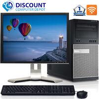 """Dell Desktop Computer PC Tower Core i5 8GB 500GB HDD Windows 10 Pro Wifi 19"""" LCD"""