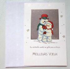 Carte de vœux Noël Nouvel Bonhomme de neige enveloppe NEUF peintre de la bouche