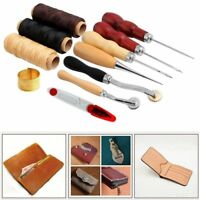 14pcs Leather Craft Hand Stitching Sewing Tools Set Thread Awl Waxed Thimble Kit