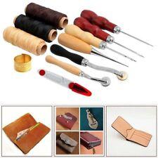 14Pcs Leather Craft Hand Stitching Sewing Tool Set Thread Awl Waxed Thimble Kit