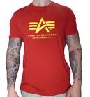 Alpha Industries Basic T-Shirt Shirt speed red rot Out Logo Wappen 100501