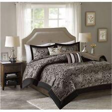 Best King Comforter Sets 5-Piece Charlize Jacquard Soft Black and Gold King Size