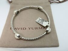 "David Yurman Sterling Silver Four Station white Ceramic Bangle Bracelet 2.5"" Dia"