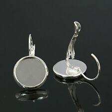 Brisuren / Ohrring, Rohlinge für 10mm Cabochons, Farbe silber,10 Stück