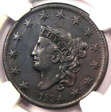 1834 Coronet Matron Large Cent 1C - NGC XF Details - Rare Certified Penny