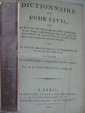 Dictionnaire du Code civil  1806 Daubenton Edition originale