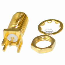 SMA Female PCB mount Edge Connector with Nut Straight IEC 60169-8 Golden Adapter