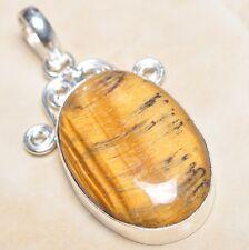 "Handmade Golden Tiger's Eye Gemstone 925 Sterling Silver Pendant 2.25"" #P03320"