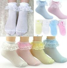 2Pairs Retro Lace Ruffle Frilly Ankle Short Socks Ladies Princess Girl socks