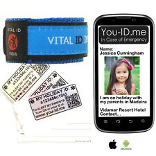Child Holiday ID Parent Alert* Bracelet Wristband Find Prevent Lost Missing Kids