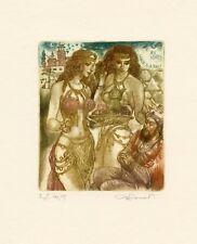 Semi Nude, Mythology Ex libris  Bookplate Etching by David Bekker
