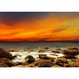 Fototapete Sonnenaufgang Strand Meer Felsen Sunset liwwing no. 60