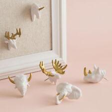 Animal Push Pins Set 6 by U Brands White Gold Elephant Buck Moose Rhino Unicorn