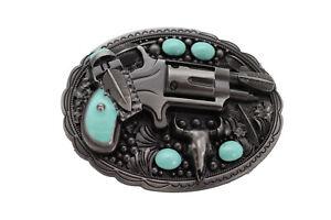 Men Women Western Buckle Silver Metal Revolver Gun Feather Bull Turquoise Biker