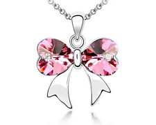 Fashion Womens Butterfly Pink Crystal Rhinestone Silver Chain Pendant Necklace —