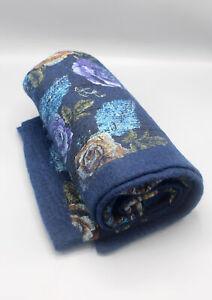 Navy Blue Floral Print Felt Wool Colorful Indoor Mat
