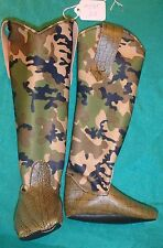 Green Alligator & Camouflage Cowboy Boots for My Size Barbie Doll MYBT65