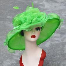 Women Dress Church Wedding Kentucky Derby Wide Brim Feather Sun Floppy Hat A341 Green