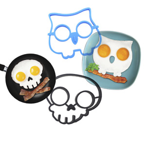 Silicone Egg Fry Rings Mould Owl Skull Shape Mold Poacher Pancakes Breakfast