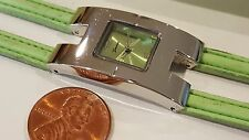 Geneva Quartz Rectangle watch Silvertone Girls Woman Green Dial double band