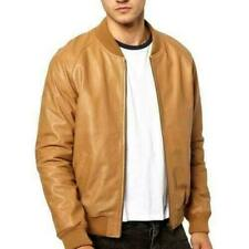 NEW Mens Tan 100% Real Leather Casual Smart Fitted Zipped Bomber varsity jacket