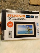 "Sylvania 10"" LED Multimedia Wood Finish Digital Photo Frame 