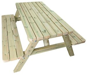 Heavy Duty Wooden Picnic Table Made With Chunky Redwood 4-8 Seater Pub Benches