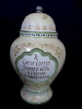 Ginger Style Container In Yellow Ceramic with Pewter Knob Top for Coffee/Treats