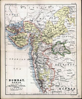 1890 Bartholomew Antique Map of Nort West India - Bombay