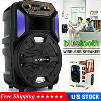 "8"" Portable Wireless Bluetooth 5.0 MP3 LED Speaker FM Pure Acoustics USB TF AUX"